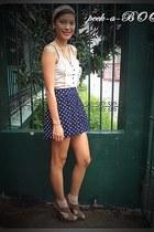 navy high waisted peek-a-boo shorts - bronze leopard heels Forever 21 shoes