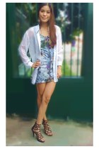 zip up Topshop dress - peek-a-boo shirt - feather Quirkypedia earrings