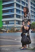 gray striped Forever 21 blazer - black Mango leggings - black Topshop top