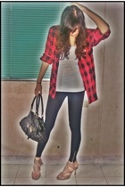 thrifted shirt - Topshop leggings - forever 21 top - the ramp crossings shoes -