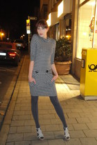 gray unknown dress - heather gray unknown brand tights - silver shoetique heels