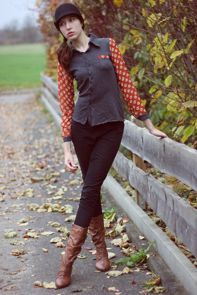 red floral print PERSUNMALL blouse - bronze flats vintage boots