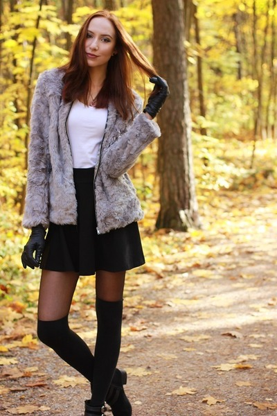 heather gray faux fur H&M jacket - black velvet Primark boots