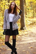 heather gray faux fur H&M jacket - black velvet Primark boots
