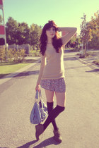 H&M shorts - unknown sweater - fabricjeans unknown brand bag
