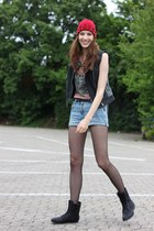 black suede boots - black leather defshop jacket - sky blue denim DIY shorts