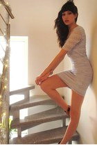 mustard studded Ann Christine heels - periwinkle lace H&M dress - gold bracelet