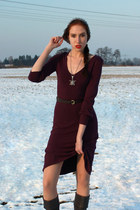 maroon vintage dress - gray Cindy Campbell boots - silver unknown brand hat