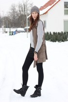 black winter boots - olive green military jacket - black warm tights