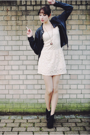 black fake leather Pimpkie jacket - black lita boots - cream lace vintage dress