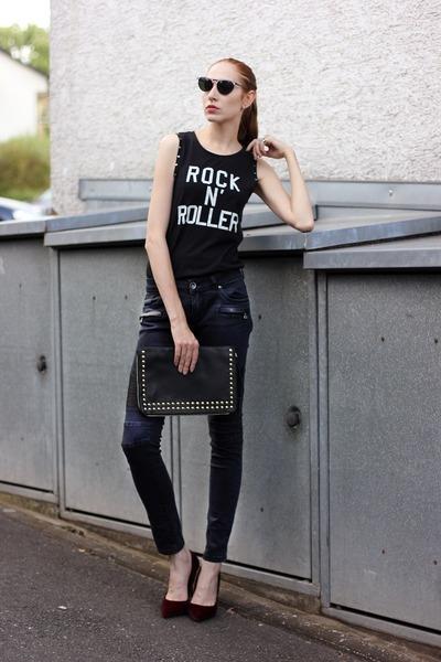 black faux leather Vero Moda jeans - black rocker Colloseum shirt