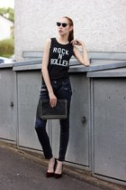 black faux leather Vero Moda jeans - black rocker Colloseum shirt
