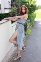 sky blue summer H&M dress - aquamarine beach H&M skirt - brown belt