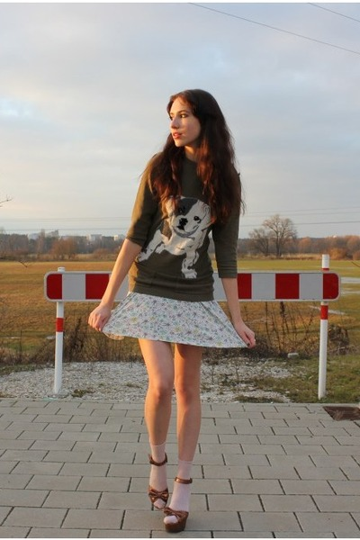 olive green unknown sweater - off white flower print H&M dress
