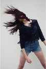 Black-fringed-vintage-jacket-sky-blue-high-waisted-vintage-shorts