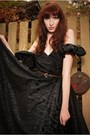 Black-unknown-brand-dress-brown-ann-christine-belt