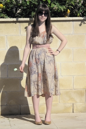 Miu Miu sunglasses - vintage dress - vintage belt - Office shoes