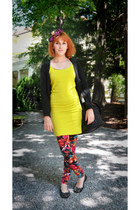 magenta Jane Bond accessories - yellow H&M dress - red Tally Weijl leggings