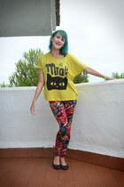 red Tally Weijl leggings - yellow Promod t-shirt