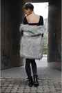 Black-h-m-boots-black-tally-weijl-dress-silver-fake-fur-reserved-jacket