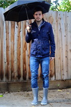blue H&M jacket - silver Treetorn boots - navy Levis jeans