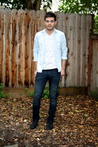light blue Urban Outfitters shirt - charcoal gray Fred Perry shoes