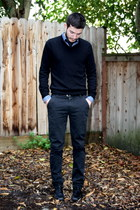black Kenneth Cole shoes - black Express sweater - navy merona shirt