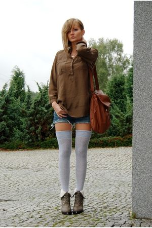brown Zara shirt - brown Mango bag - blue Orsay shorts - brown no name boots - g