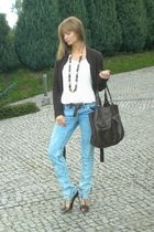 brown reserved cardigan - white H&M top - brown H&M purse - blue Mohito jeans -
