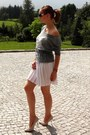 Heather-gray-robert-kupisz-shirt-white-vintage-skirt