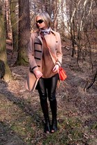 red asos boots - light brown H&M coat - black H&M leggings - Chanel purse - brow