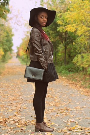 faux leather H&M jacket - little black Zara dress - wide brim Forever 21 hat