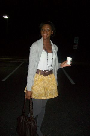 white Express blouse - brown belt - gold Charlotte Russe skirt - brown From Moms