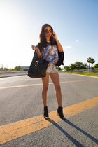 black H&M boots - black Zara bag - Zara shorts - Prada sunglasses