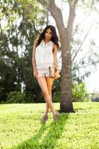 pink scallop H&M shorts - Marco Santi boots - white H&M top