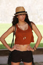 Crop-top-forever-21-top-fedora-urban-outfitters-hat-target-bag