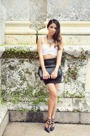 black Zara bag - black faux leather Zara skirt - white Nasty Gal bra