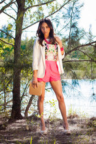 floral top H&M top - Forever 21 blazer - Lush shorts