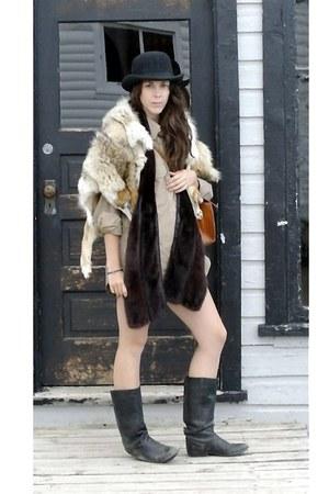 shirt - santana boots - smithbilt derby hat - vintage mink scarf - purse