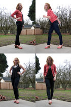 pink JCrew sweater - black Anthropologie top - blue Seven For All Mankind jeans