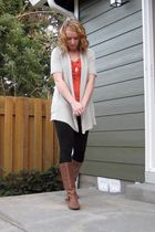 orange Anthropologie top - white Anthropologie sweater - black Anthropologie leg