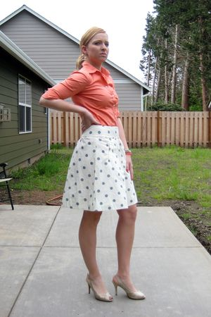 white JCrew skirt - pink JCrew shirt - beige Glint shoes