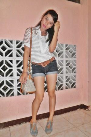 white top top - shoes - Jimmy Choo bag - jeans short crissa shorts - brown belt