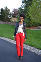 black Bar III jacket - red Zara pants - off white paul & joe blouse - rachel roy