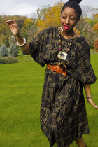 African Dashiki dress - tawny H&M belt - necklace - dark brown Enigma shoes
