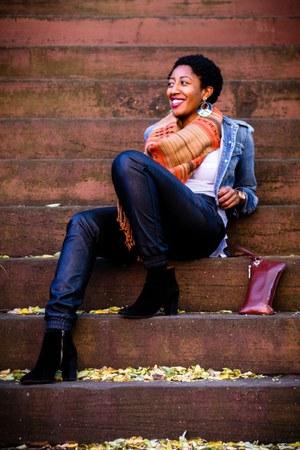 black suede booties Nine West boots - Gap jacket - orange H&M scarf