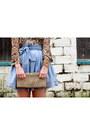 Light-blue-jack-skirt-ivory-vintage-purse-black-nine-west-sunglasses