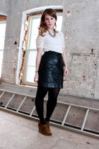 black vintage skirt - ivory BB Dakota top - brown sam edelman wedges - silver Fo