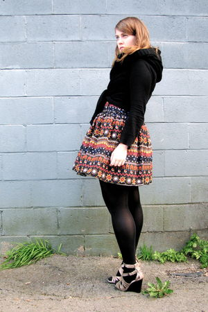 orange Primark skirt - black HUE tights - black Urban Planet sweater - black Joe