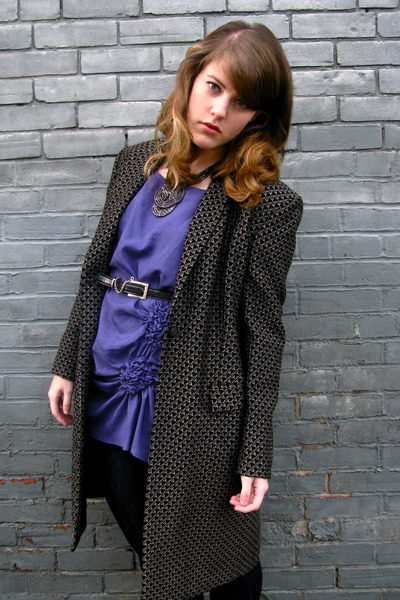 purple Dahlia blouse - black vintage jacket - black thrifted belt - silver Awear